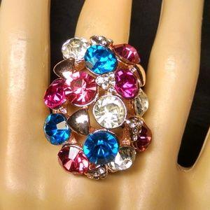Elegant Dome Multi Color Rhinestones Ring